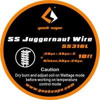 GeekVape SS Juggernaut Wire, SS316L(28GA+38GA)x2+Ribbon(38GAx24GA), 3m